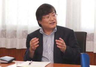 懇談する島田学長