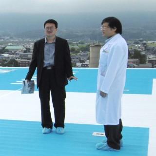 新病棟屋上のヘリポートの視察