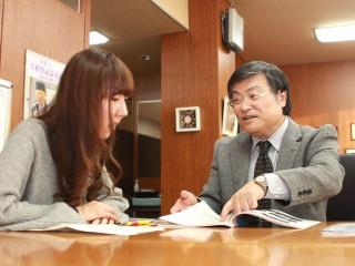 学長室収録の様子(2月10日)