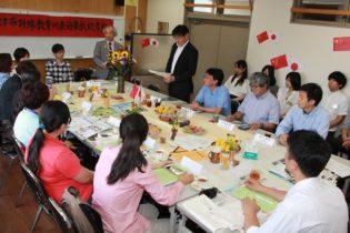 中村学部長(奥中央)から歓迎の挨拶